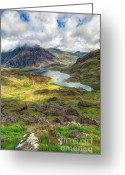 National Digital Art Greeting Cards - Llyn Idwal Lake Greeting Card by Adrian Evans