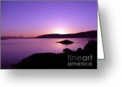 Caron Greeting Cards - Loch Caron Sunset Greeting Card by Elaine Jones