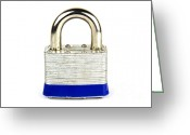Secrecy Greeting Cards - Lock Greeting Card by Blink Images