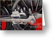 Station Greeting Cards - Locomotive Wheel Greeting Card by Carlos Caetano
