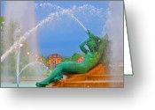 Swann Greeting Cards - Logan Circle Fountain 1 Greeting Card by Bill Cannon