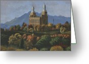 Church Greeting Cards - Logan Temple Greeting Card by Jeff Brimley