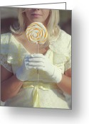 Blonde Photo Greeting Cards - Lollipop Greeting Card by Joana Kruse