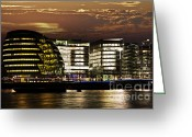 Hall Photo Greeting Cards - London city hall at night Greeting Card by Elena Elisseeva
