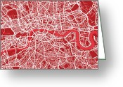 London England  Digital Art Greeting Cards - London Map Art Red Greeting Card by Michael Tompsett