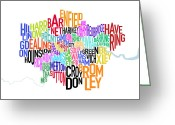 London Greeting Cards - London UK Text Map Greeting Card by Michael Tompsett