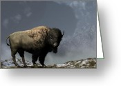 Remington Digital Art Greeting Cards - Lonely Bison Greeting Card by Daniel Eskridge