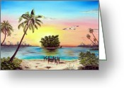 Sunset Greeting Cards Mixed Media Greeting Cards - Lonesome Florida Cay Greeting Card by Riley Geddings