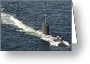 Submarines Greeting Cards - Los Angeles-class Attack Submarine Uss Greeting Card by Stocktrek Images