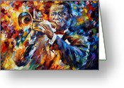 Afremov Greeting Cards - Louis Armstrong Greeting Card by Leonid Afremov