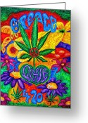 420 Greeting Cards - Love and Peace Greeting Card by Diana Haronis