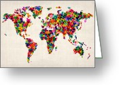 Travel Greeting Cards - Love Hearts Map of the World Map Greeting Card by Michael Tompsett