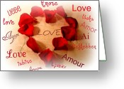 Rose Petals Greeting Cards - Love In Any Language Greeting Card by Kathy Bucari