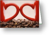 Coffee Beans Greeting Cards - Love Greeting Card by Kristin Kreet