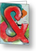 Blue Mixed Media Greeting Cards - Love Greeting Card by Linda Woods