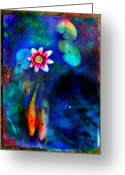 Abstract Greeting Cards - Lovers Greeting Card by Gina Signore