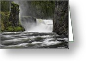 Lower Yellowstone Falls Greeting Cards - Lower Mesa Falls Greeting Card by Leland Howard