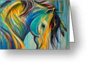 Wild Horse Painting Greeting Cards - Loyal One Greeting Card by Theresa Paden