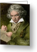 Music Teacher Greeting Cards - Ludwig Van Beethoven, German Composer Greeting Card by Photo Researchers