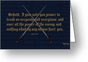 Bible Scripture Canvas Greeting Cards - Luke 10 19 Greeting Card by Greg Long