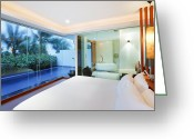 Curtain Greeting Cards - Luxury Bedroom Greeting Card by Setsiri Silapasuwanchai