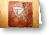 Uganda Pottery Ceramics Greeting Cards - Mabel - tile Greeting Card by Gloria Ssali