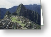 Pre Columbian Antiquities And Artifacts Greeting Cards - Machu Picchu Peak And Surrounding Greeting Card by David Evans