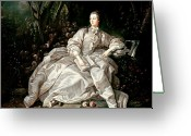 Marquise Greeting Cards - Madame de Pompadour Greeting Card by Francois Boucher