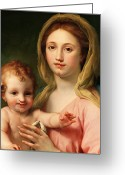 Baby Jesus Greeting Cards - Madonna and Child Greeting Card by Anton Raphael Mengs