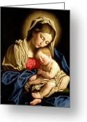 Christ Child Greeting Cards - Madonna and Child Greeting Card by Il Sassoferrato