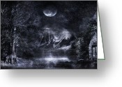 Glowing Moon Greeting Cards - Magical Night Greeting Card by Svetlana Sewell