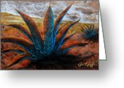 Paper Mixed Media Greeting Cards - Maguey Greeting Card by Juan Jose Espinoza