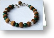 Artisan Jewelry Jewelry Greeting Cards - Mala Bracelet - Malachite - Faceted Rose Quartz - Vintage Sandalwood Mala Beads - OOAK Greeting Card by Naomi Mountainspring