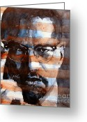 Civil Rights Greeting Cards - MalcolmX Greeting Card by Paul Lovering