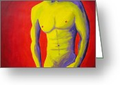 Nudes Males Greeting Cards - Male Nude Frontal Greeting Card by Randall Weidner
