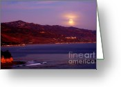 Moonrise Photo Greeting Cards - Malibu Moonrise Greeting Card by Marc Bittan