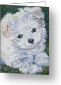 L.a.shepard Greeting Cards - Maltese Greeting Card by Lee Ann Shepard