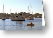 Scenic Framed Prints Prints Greeting Cards - Man in Rowboat on Spa Creek Greeting Card by Paul Pobiak