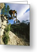 Athletes Greeting Cards - Man Jumping On His Mountain Bike Greeting Card by Mark Cosslett