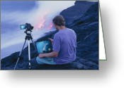 Big Island Greeting Cards - Man Taking Photographs Of A Lava Flow Greeting Card by G. Brad Lewis