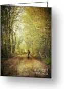 November Sunset Greeting Cards - Man walking  on a lonely country road Greeting Card by Sandra Cunningham