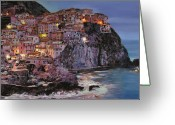 Oil On Canvas Painting Greeting Cards - Manarola at dusk Greeting Card by Guido Borelli