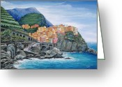 Mountain Vineyards Greeting Cards - Manarola Cinque Terre Italy Greeting Card by Marilyn Dunlap
