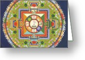 Iconography Painting Greeting Cards - Mandala of Avalokiteshvara           Greeting Card by Carmen Mensink