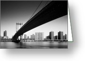 Hudson River Greeting Cards - Manhattan Bridge Greeting Card by Nina Papiorek