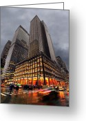 Silhouettes Greeting Cards - Manhattan Greeting Card by Svetlana Sewell