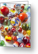 Toys Greeting Cards - Many beautiful marbles Greeting Card by Garry Gay