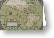 Galleons Greeting Cards - Map of North and South America Greeting Card by Abraham Ortelius