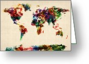 World Map Canvas Greeting Cards - Map of the World Map Abstract Painting Greeting Card by Michael Tompsett