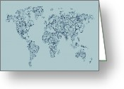 World Map Poster Digital Art Greeting Cards - Map of the World Map Floral Swirls Greeting Card by Michael Tompsett